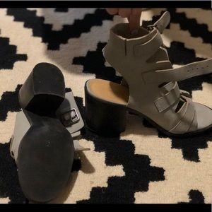 Grey heeled sandals